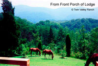 Relax in rockers on the Lodge's front porch- gazing at Chilhowee Mountain